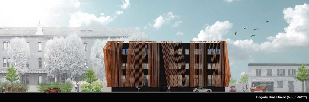 Centre universitaire Roanne Keops Facade Sud Ouest